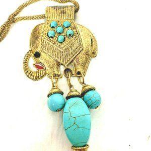 Other - Lucky Elephant Turquiose Boho Necklace Ethnic Tass